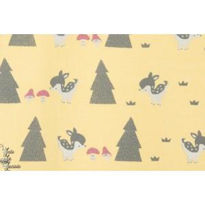 Sweat coton  Molleton Bambi Jaune enfant couture kiyohara