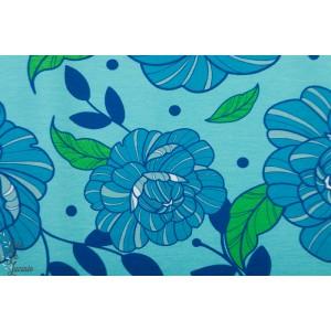 Jersey Vintageflower Blue Vintage in my heart fleur bleu retro mode femme