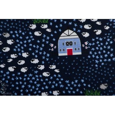 Popeline RIley Blake Fox Farm ferme chien campagne bleu