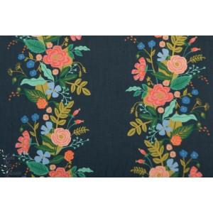 Popeline Floral Vines Dark English garden Cotton Steel