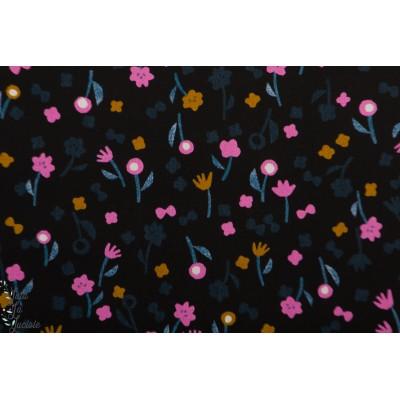 Viscose rayon Flower Picking - Nigh neko niki noior rose fleur