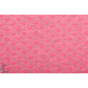 jacquard jersey neon coeur rose fille graphique poppy