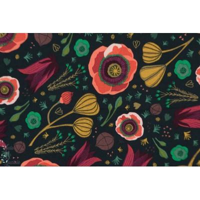 Popeline Bio dark blooms navy fleur coquelicot