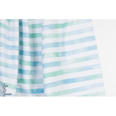 Jersey Aquarelringel Blaugrun Lillestoff rayé pastel bleu vert