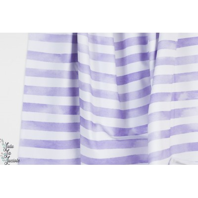 Jersey Aquarelringel Violet Lillestoff rayé bio pastel