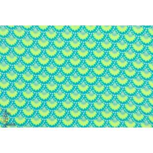Popeline Petit Pan Wasabi Bleu Aruba