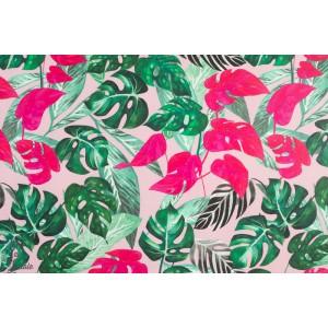 Jersey VIDAKKO Soft Pink verson pioti vegetal feuille tropique rose