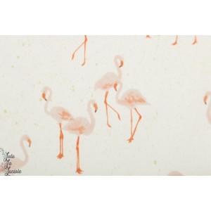 Jersey Flamingos family Fabrics pastel flamand rose