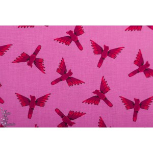 Popeline Dashwood  Birds Night Jungle JUNG1646 oiseau rose
