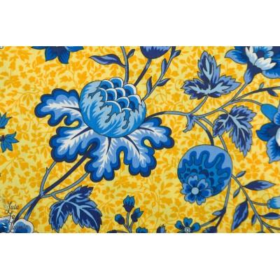 Popeline Michael Miller Provincial fleur jaune bleu