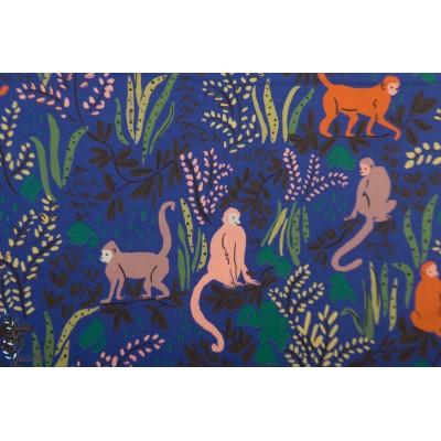 Popeline Bio Clooud9 Monkeys Blue garden eden singe bleu animaux jungle