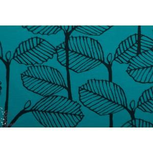 Jersey Bio Alder Petrol Paapii feuille végétal graphiqyue bleu