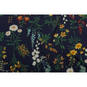 Batiste douces fleurs des champs marine  Kokka