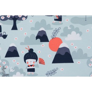 tissu coton Jersey Bio Japanese garden kokeshi fille lillestoff Bora bleujardin japonais