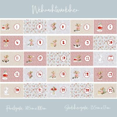 Panneau Popeline Bio Weihnachtssäckchen lillestoff calendrier de l'avant Noel