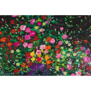 Simple Bordure Michael Miller Bowers of Flowers Black