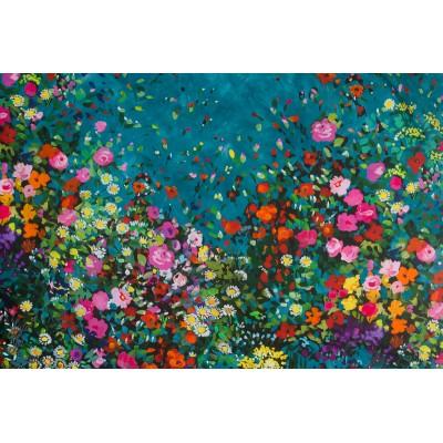 Simple Bordure Michael Miller Bowers of Flowers teal petrole