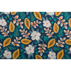 Popeline Bio he Tiny Garden Hibiscus Tropical Lush Pastel  Nerida Hansen