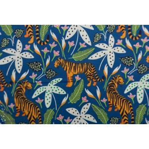 Popeline Bio the Tiny Garden Tigers Tropical Lush blue Nerida Hansen