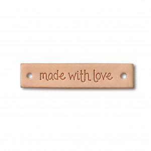 Étiquette « made with love » cuir en couleur natruelle, rectangulaire
