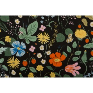 Viscose Strawberry Fields - Black Rayon Fabric - Cotton and Steel - Rifle Paper Co