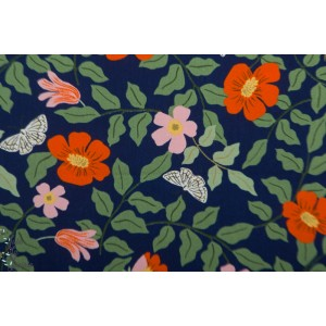 Viscose Strawberry Fields - Primerose Navy  - Cotton and Steel - Rifle Paper Co