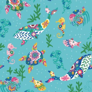 Tissu Canvas Slim Tropical Sea KATIA