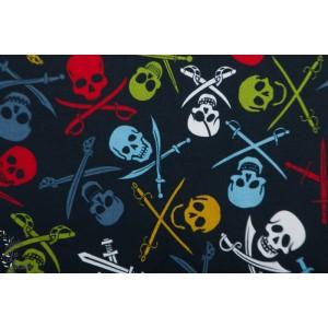 French terry brossé Pirate Skulls  MeganBlue