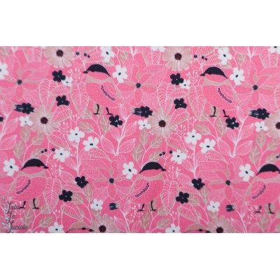 Jersey Bio fleur rose oiseau