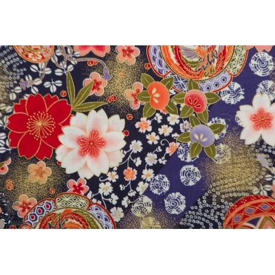 Coton Umebana to kujaku bleu kokka japon fleur