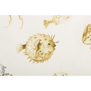 jersey Pufferfish Mustard Yellow Family Fabrics
