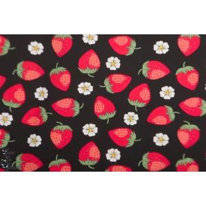Jersey Vintage Botanical - fraise fond noir