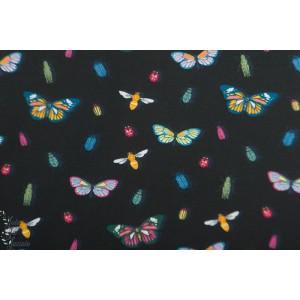 Jersey Vintage Botanical - papillons fond noir