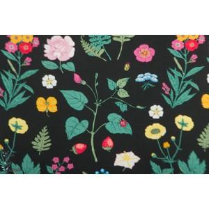 Jersey Vintage Botanical - herbier fond noir