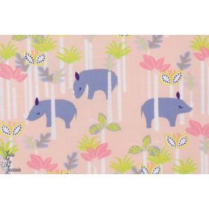 tissu coton Popeline Sundaland Rhino rose blend jungle