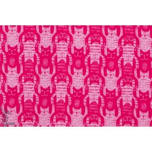 tissu coton jersey BIO  chat géométrique Katzentritt rose/fushia fille lillestoff