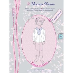 Patron couture fille enfant blouse top haut tunique Garance 2 à 6 ans madame maman