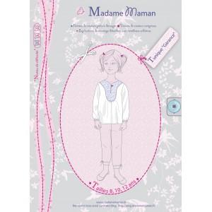 Patron couture top haut blouse  tunique Garance enfant fille adolescent 8 à 12 ans madame maman