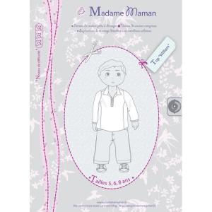 Patron couture tunique chemise haut enfant  Top WILLIAM 5-6-8 ans garçon madame maman