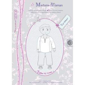 Patron couture haut tunique chemise garçon  enfant Top WILLIAM 10-12 ans madame maman