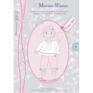 Patron couture blouse top fille enfant   Tunique OLIVIA 5-6-8 ans madame maman