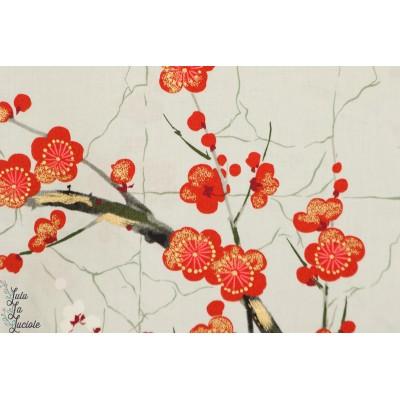 Popeline Golden Garden gris jardin japonais indochine fleur cerisier alexandre henry coton métallique