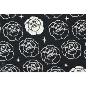 Coton Bio imprimé Stamped rose bleu rose fleur birch épais trame