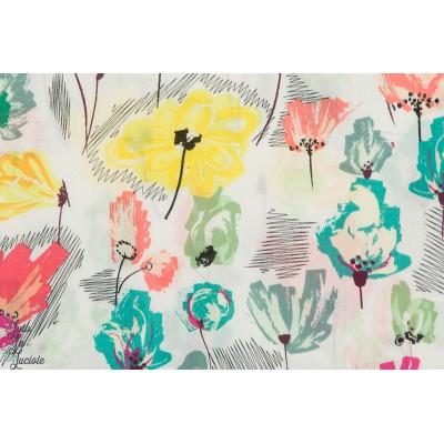 Voile batiste coto,  Wild Beauty Pineapple fleur jaune été art gallery fabric agf