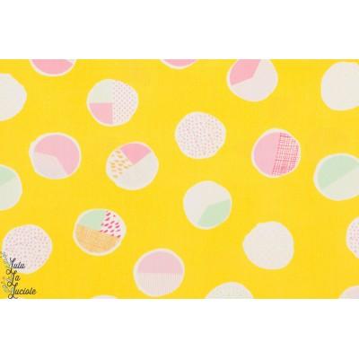 tissu coton Popeline Sweet Bubbles Sugar point jaune vif été art gallery graphic,agf