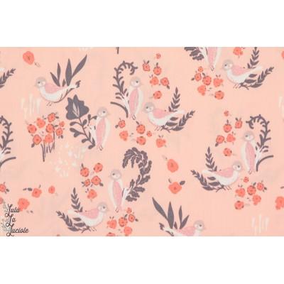 tissu coton Popeline Bio Feathered Fellow Blush organique oiseau rose art gallery fabric agf