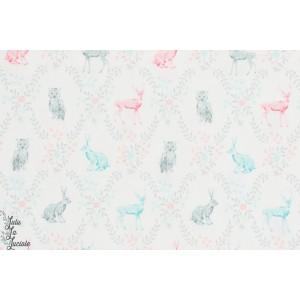 tissu coton Popeline Little Rabbits and owls lapin chouette pastel sevenberry enfant