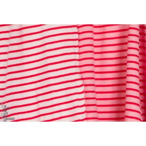jersey Jacquard bio rayé double face roseclair/rouge/rose foncé hamburger liebe