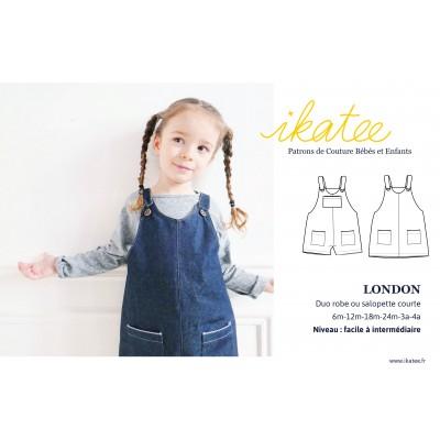 Patron duo salopette ou robe LONDON ikatee bébé mixte