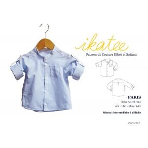 Patron chemise bébé col mao  PARIS 6 mois/ 2 ans Ikatee